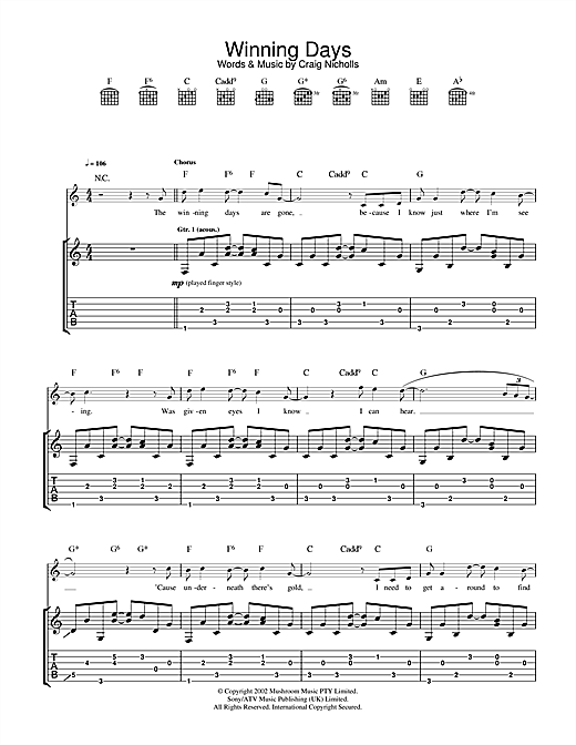 The Vines Winning Days sheet music notes and chords