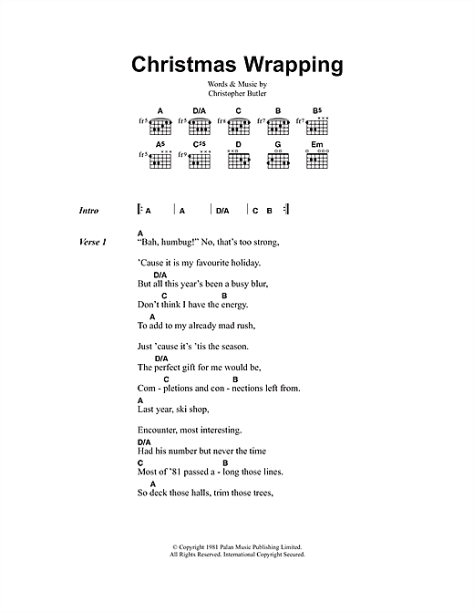 The Waitresses Christmas Wrapping sheet music notes and chords. Download Printable PDF.