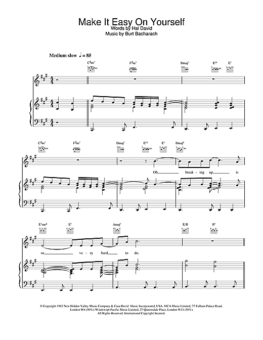 The Walker Brothers Make It Easy On Yourself sheet music notes and chords