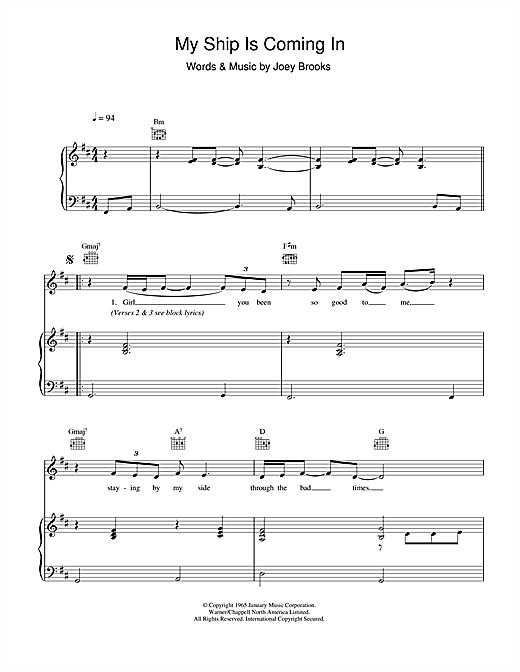 The Walker Brothers My Ship Is Coming In sheet music notes and chords. Download Printable PDF.