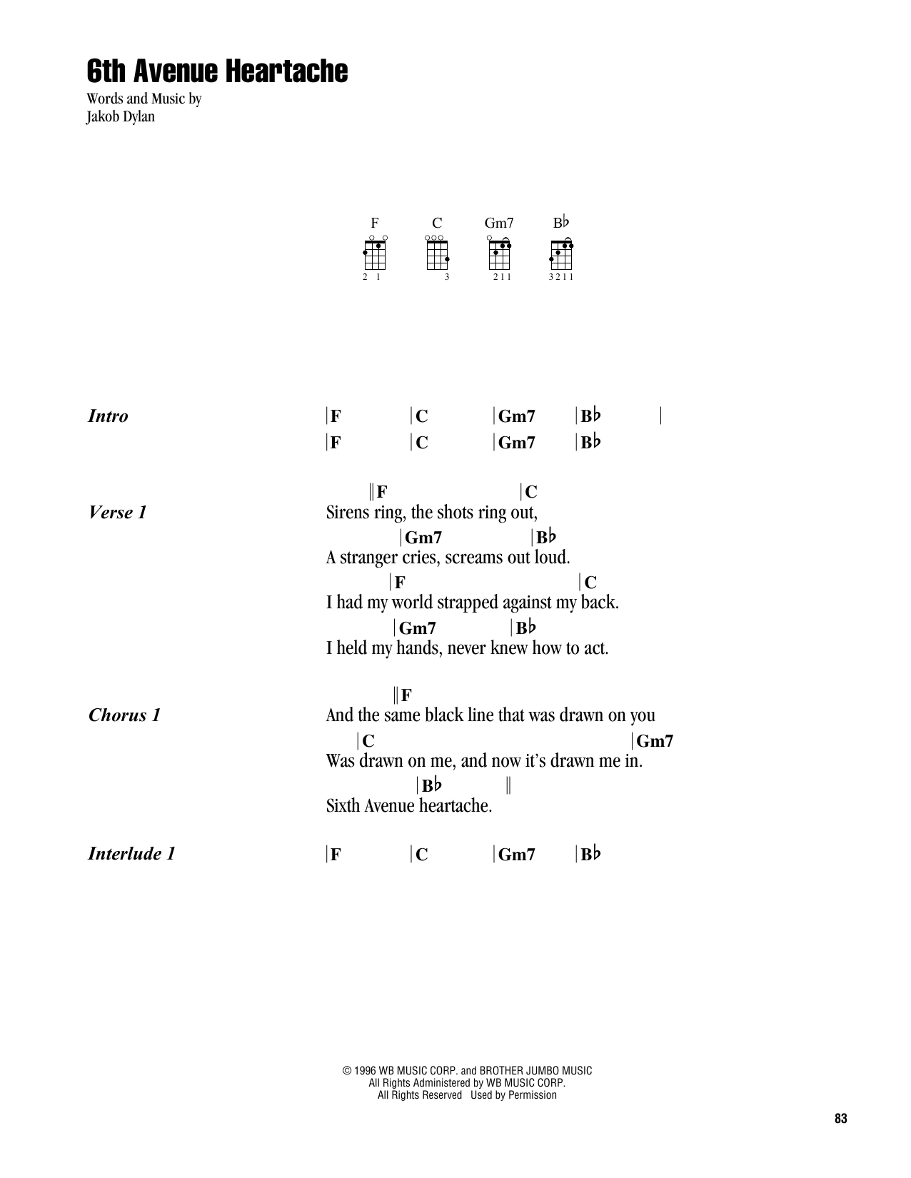 The Wallflowers 6th Avenue Heartache sheet music notes and chords. Download Printable PDF.