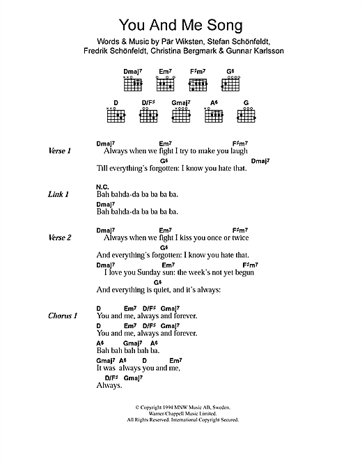 The Wannadies You And Me Song sheet music notes and chords. Download Printable PDF.