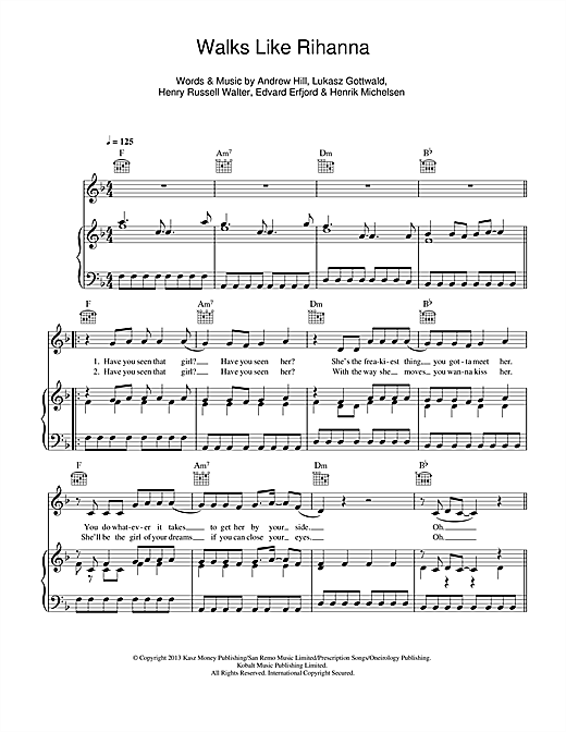 The Wanted Walks Like Rihanna sheet music notes and chords. Download Printable PDF.