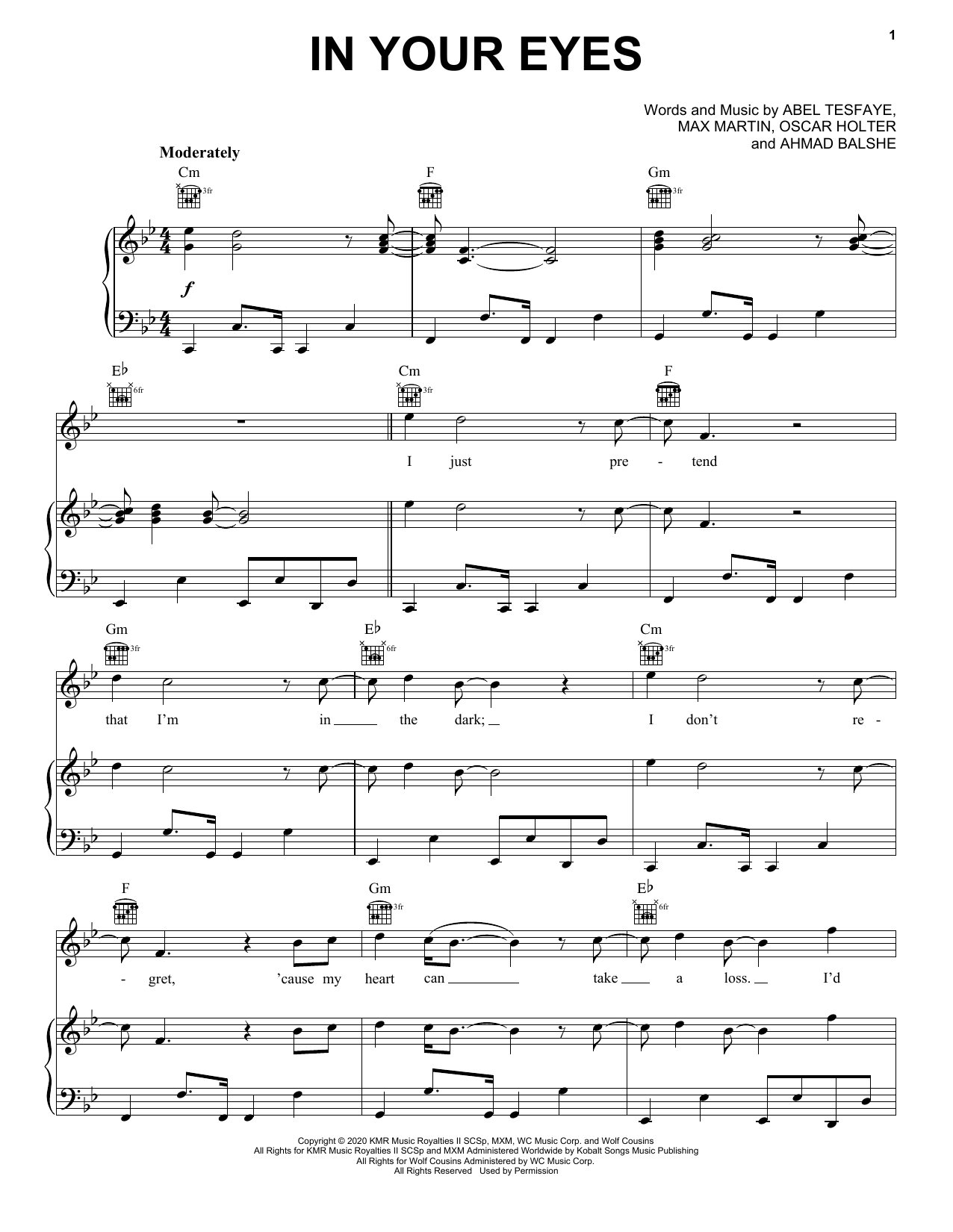 The Weeknd In Your Eyes sheet music notes and chords. Download Printable PDF.