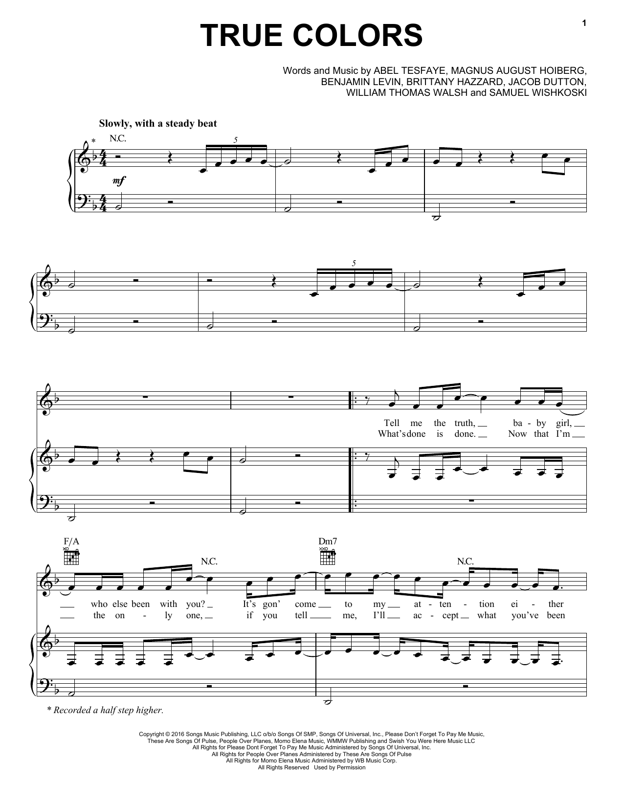 The Weeknd True Colors Sheet Music