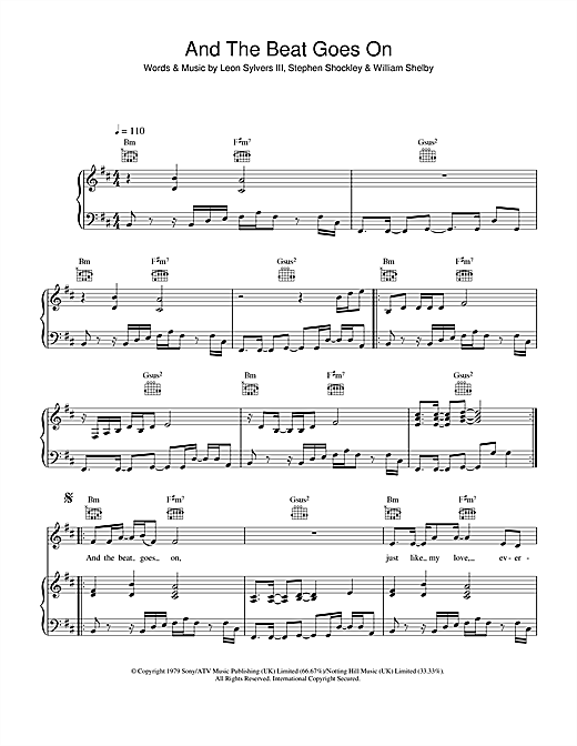 The Whispers And The Beat Goes On sheet music notes and chords. Download Printable PDF.
