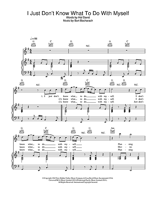 The White Stripes I Just Don't Know What To Do With Myself sheet music notes and chords. Download Printable PDF.