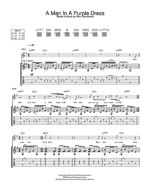 The Who A Man In A Purple Dress sheet music notes and chords. Download Printable PDF.