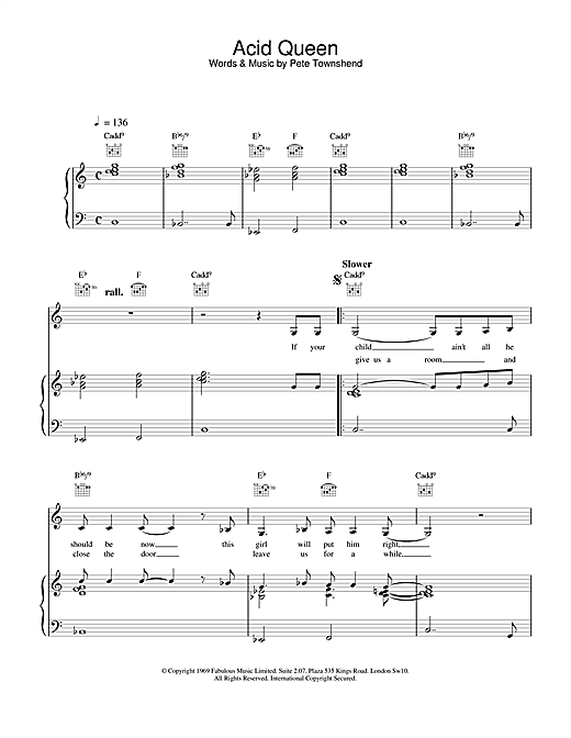 The Who Acid Queen sheet music notes and chords