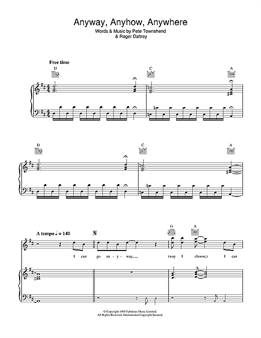 The Who Anyway, Anyhow, Anywhere sheet music notes and chords. Download Printable PDF.