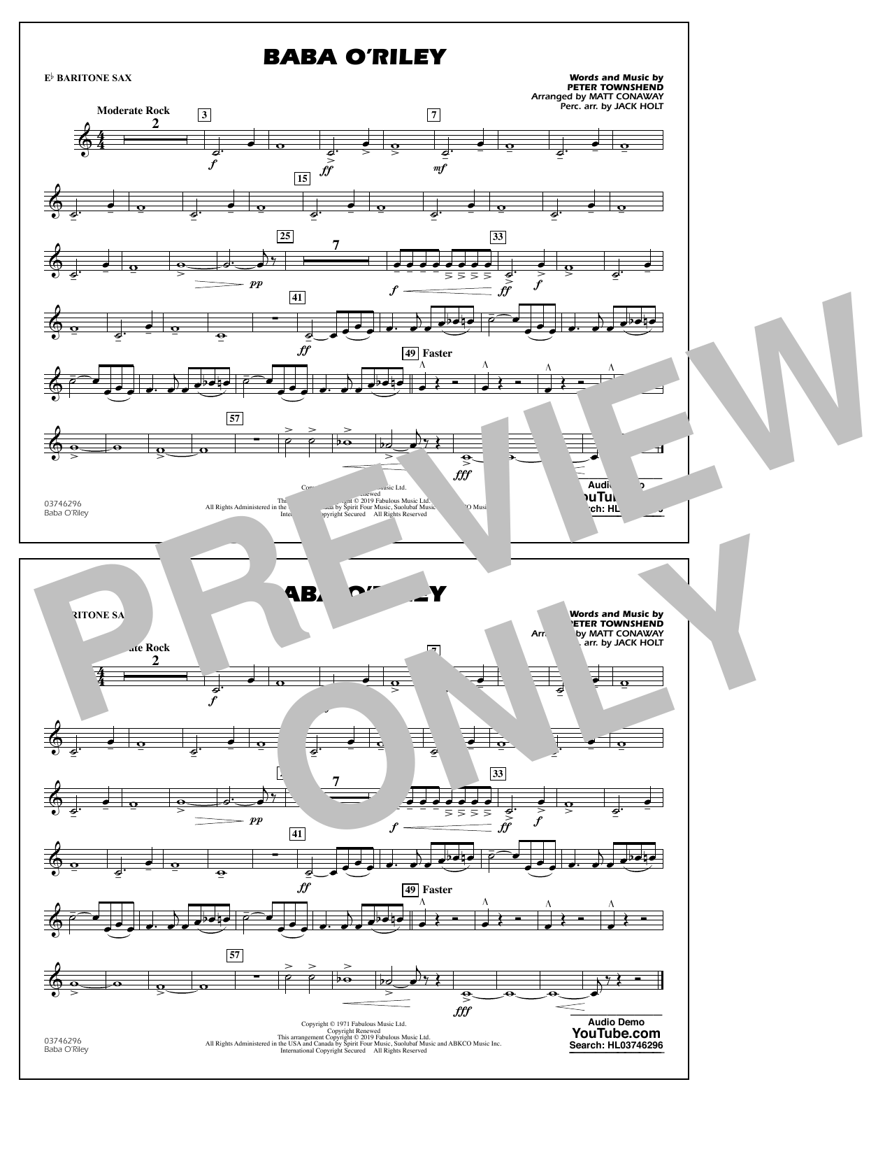 The Who Baba O'Riley (arr. Matt Conaway) - Eb Baritone Sax sheet music notes and chords
