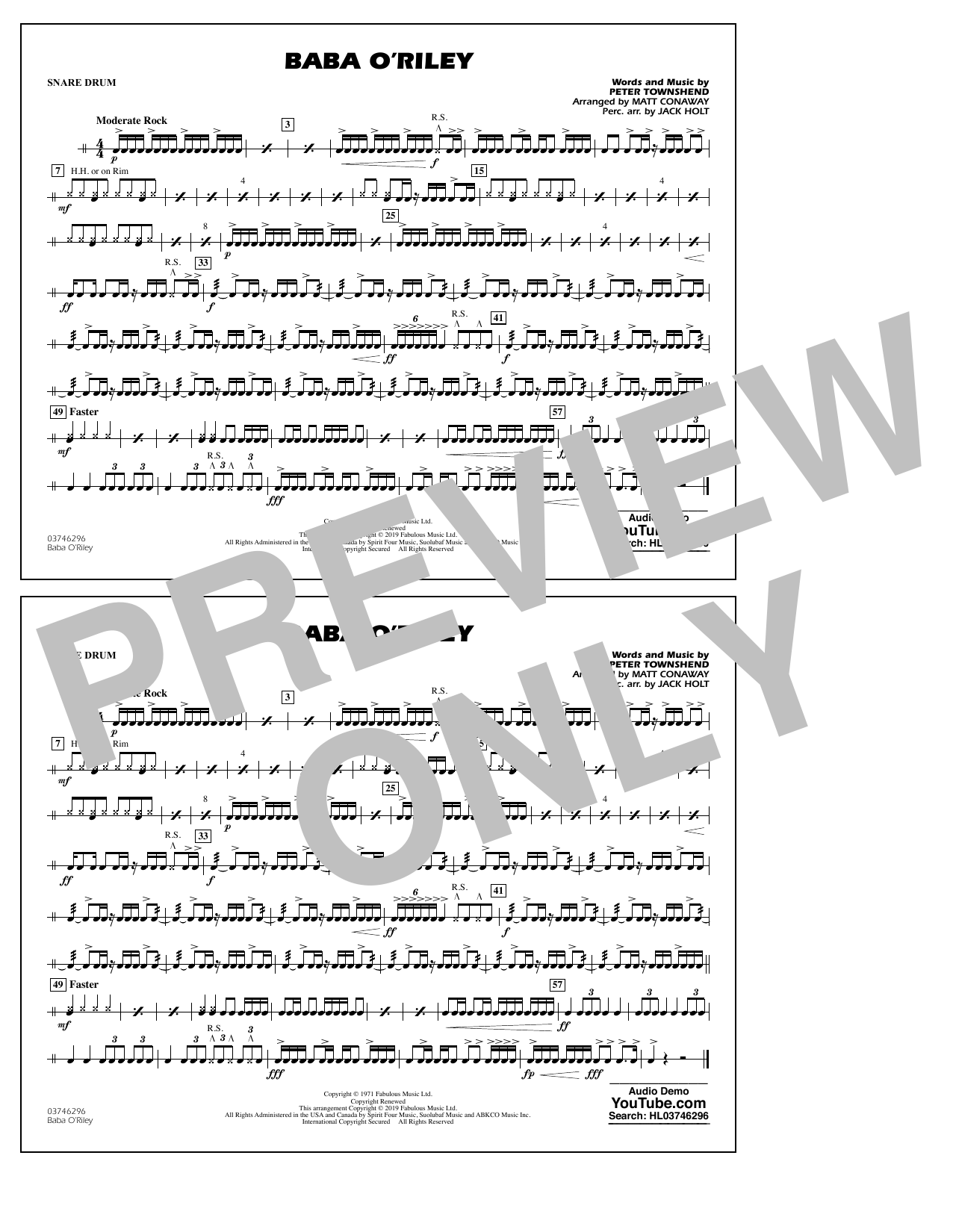 The Who Baba O'Riley (arr. Matt Conaway) - Snare Drum sheet music notes and chords