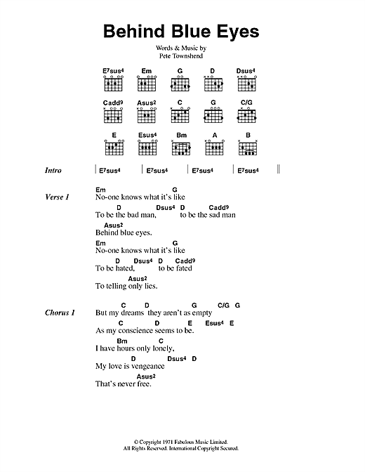 The Who Behind Blue Eyes sheet music notes and chords. Download Printable PDF.