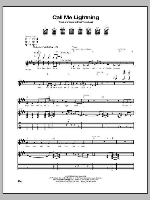 The Who Call Me Lightning sheet music notes and chords