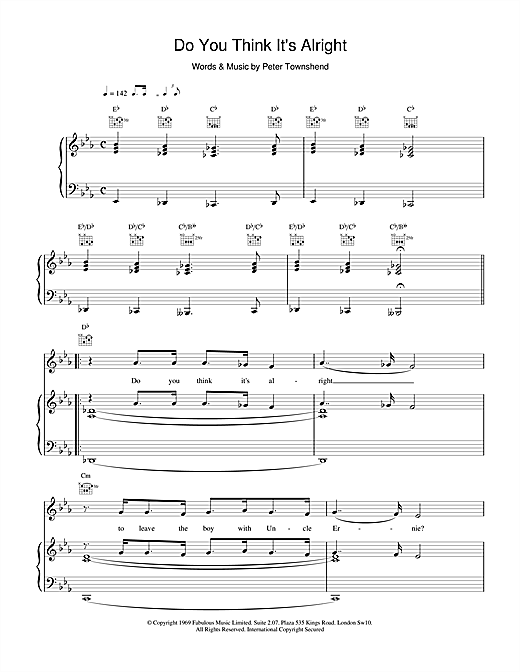 The Who Do You Think It's Alright sheet music notes and chords