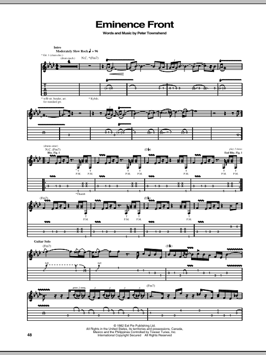 The Who Eminence Front sheet music notes and chords