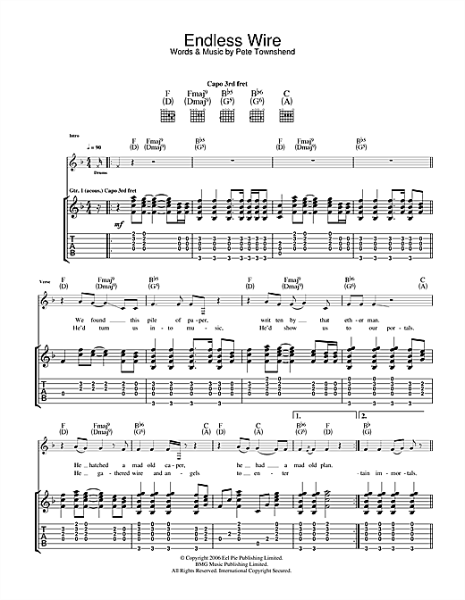 The Who Endless Wire sheet music notes and chords. Download Printable PDF.