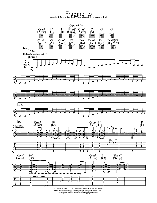 The Who Fragments sheet music notes and chords. Download Printable PDF.