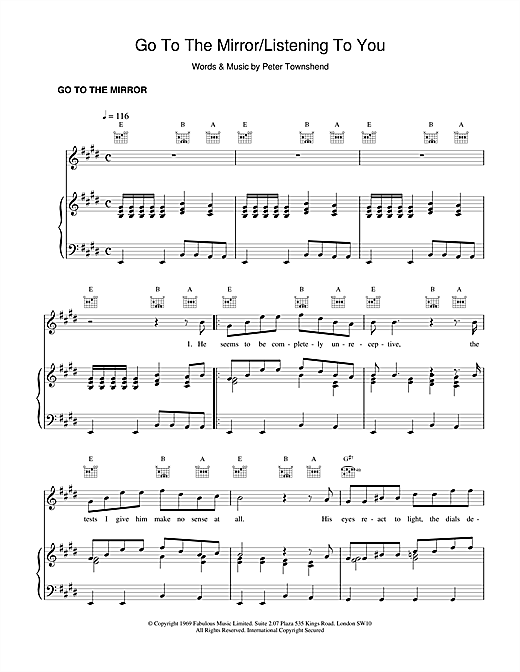 The Who Go To The Mirror sheet music notes and chords