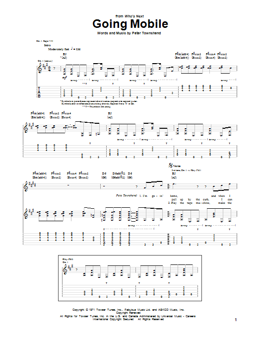 The Who Going Mobile sheet music notes and chords. Download Printable PDF.