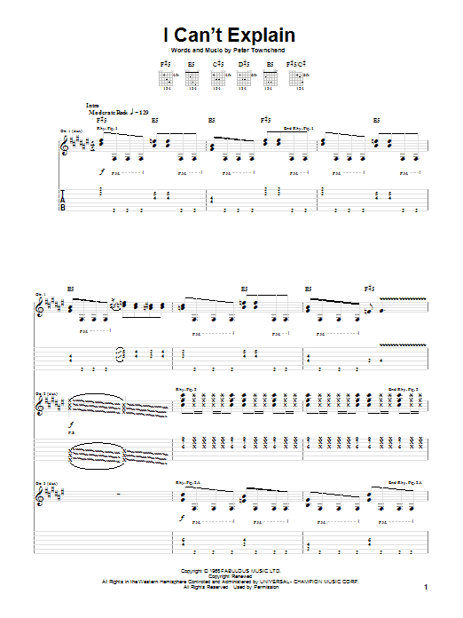 The Who I Can't Explain sheet music notes and chords. Download Printable PDF.