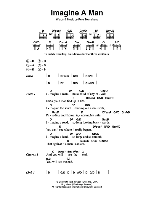 The Who Imagine a Man sheet music notes and chords