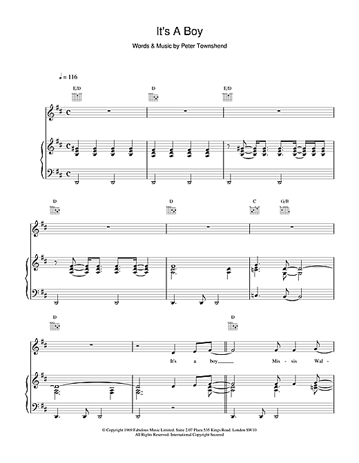 The Who It's A Boy sheet music notes and chords
