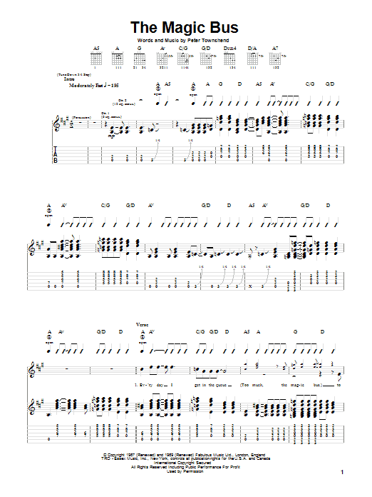 The Who Magic Bus sheet music notes and chords. Download Printable PDF.