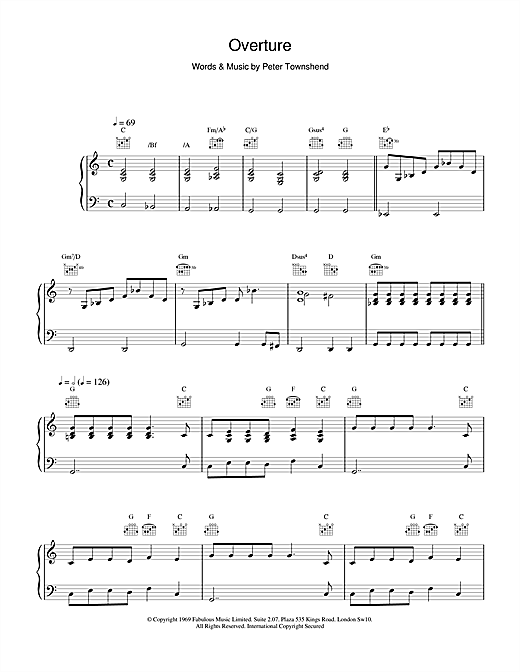The Who Overture sheet music notes and chords