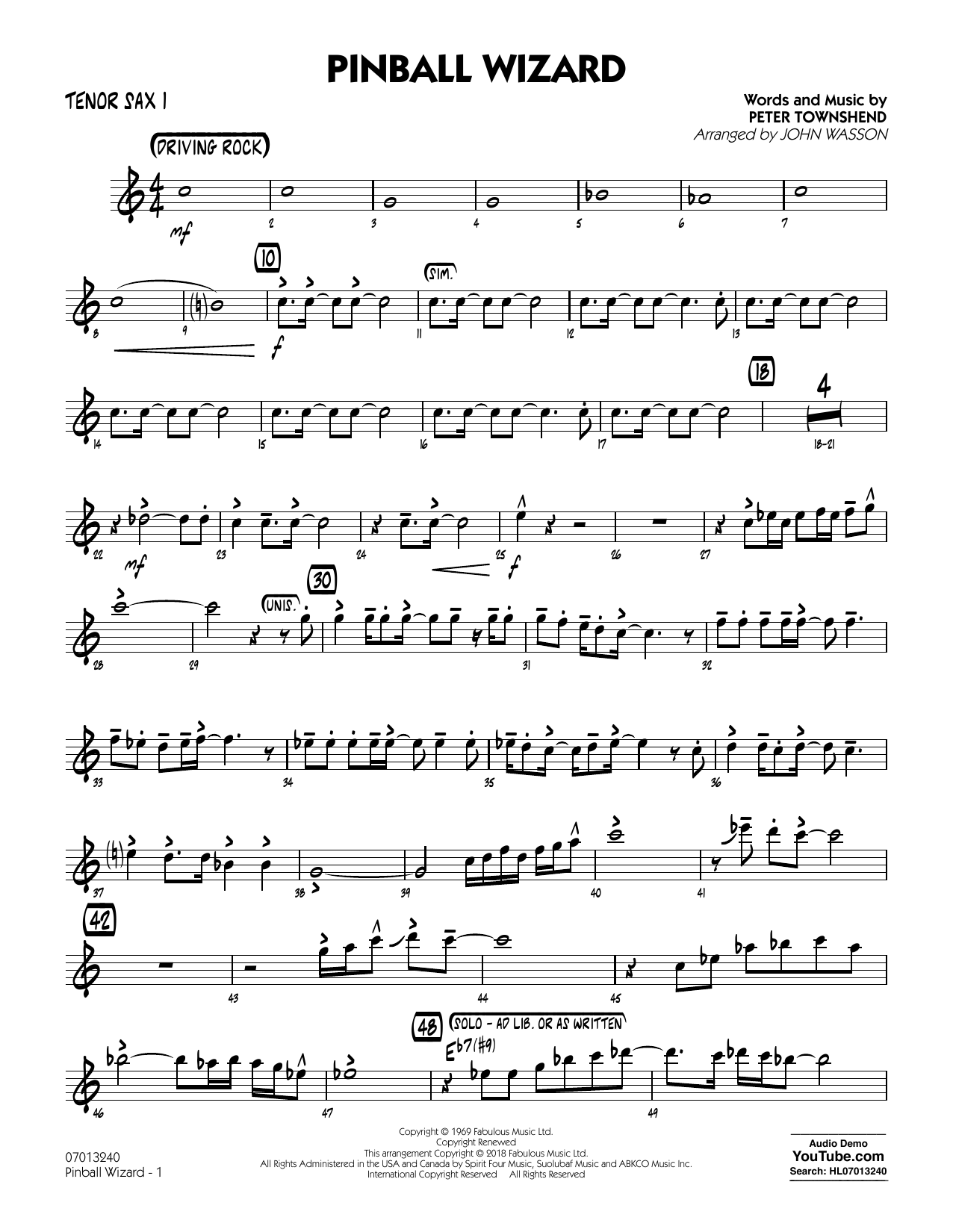 The Who Pinball Wizard (Arr. John Wasson) - Tenor Sax 1 sheet music notes and chords. Download Printable PDF.