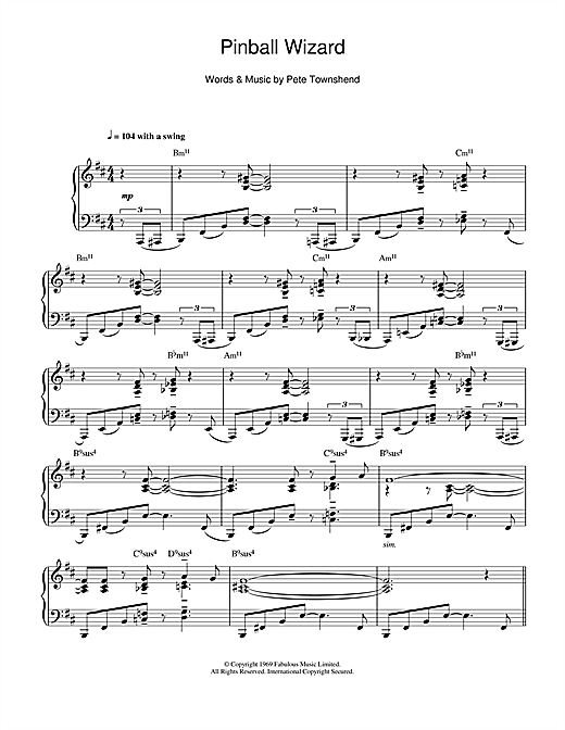 The Who Pinball Wizard (jazz version) sheet music notes and chords. Download Printable PDF.