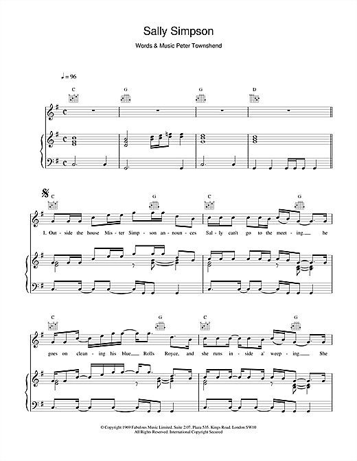 The Who Sally Simpson sheet music notes and chords