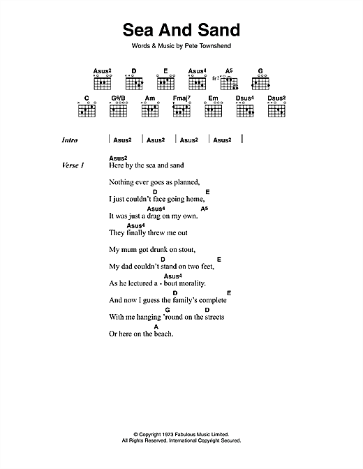 The Who Sea And Sand sheet music notes and chords. Download Printable PDF.
