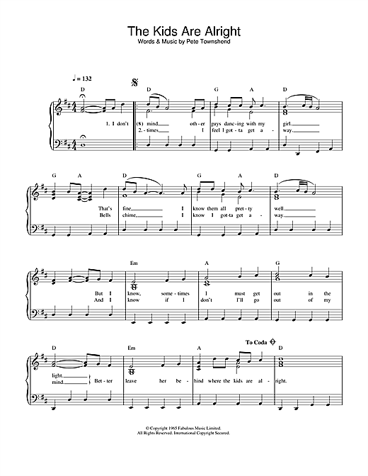 The Who The Kids Are Alright sheet music notes and chords. Download Printable PDF.