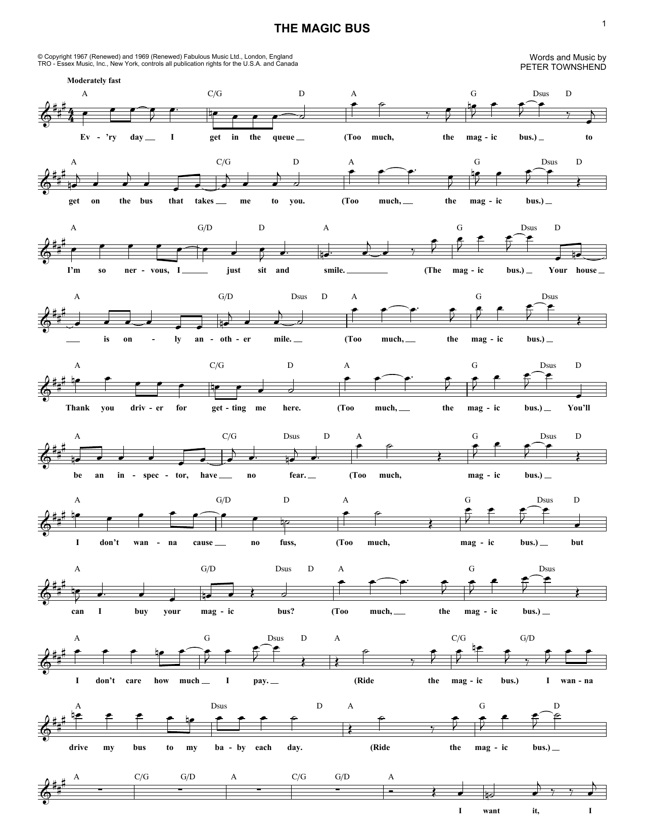 The Who The Magic Bus sheet music notes and chords. Download Printable PDF.