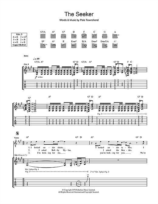 The Who The Seeker sheet music notes and chords