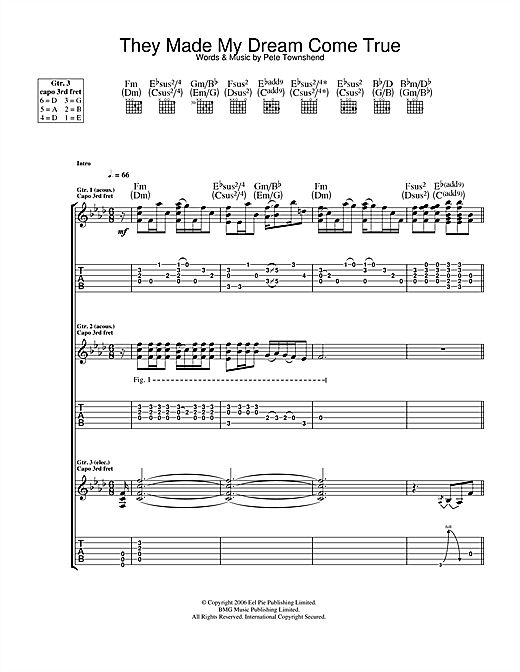 The Who They Made My Dream Come True sheet music notes and chords. Download Printable PDF.