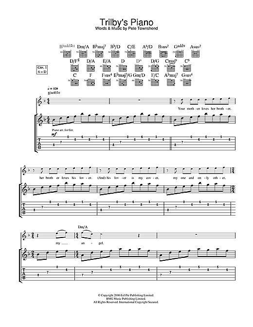 The Who Trilby's Piano sheet music notes and chords. Download Printable PDF.