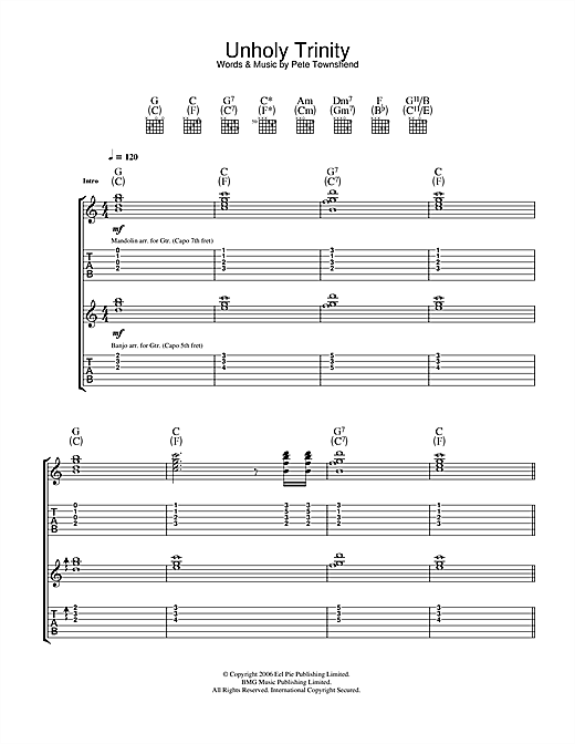 The Who Unholy Trinity sheet music notes and chords. Download Printable PDF.