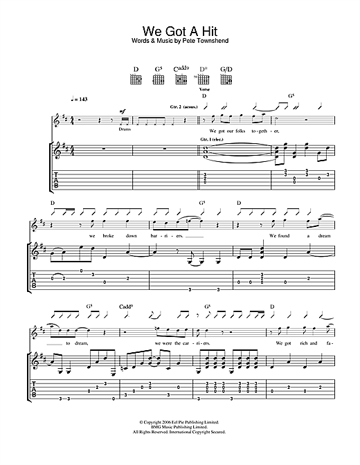 The Who We Got A Hit sheet music notes and chords. Download Printable PDF.