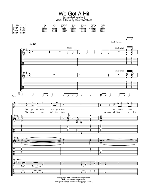 The Who We Got A Hit (Extended Version) sheet music notes and chords. Download Printable PDF.