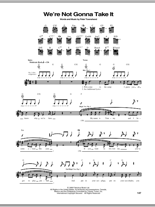 The Who 'We're Not Gonna Take It' Sheet Music Notes, Chords | Download  Printable Guitar Tab - SKU: 68769