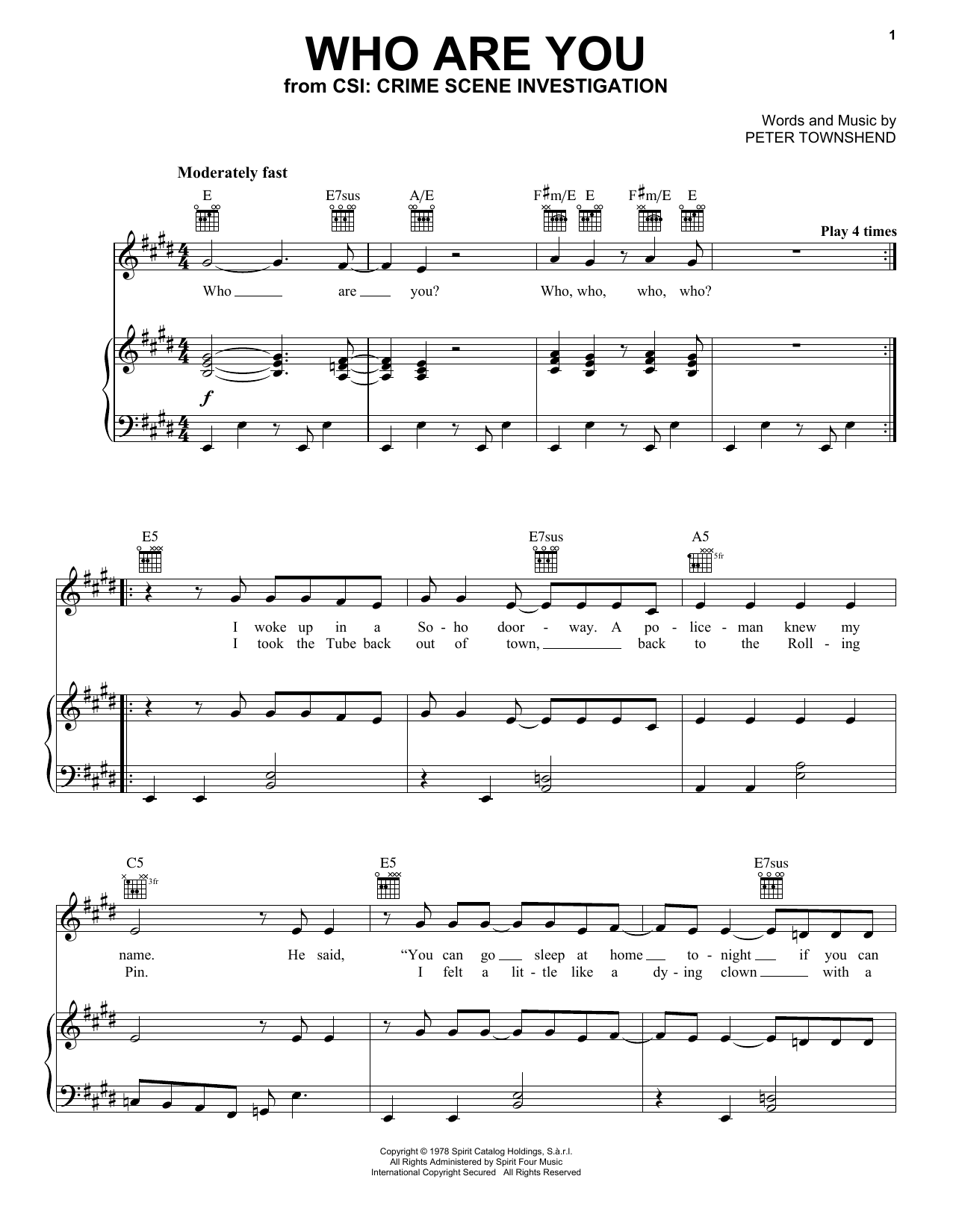 The Who Who Are You (from CSI: Crime Scene Investigation) sheet music notes and chords. Download Printable PDF.