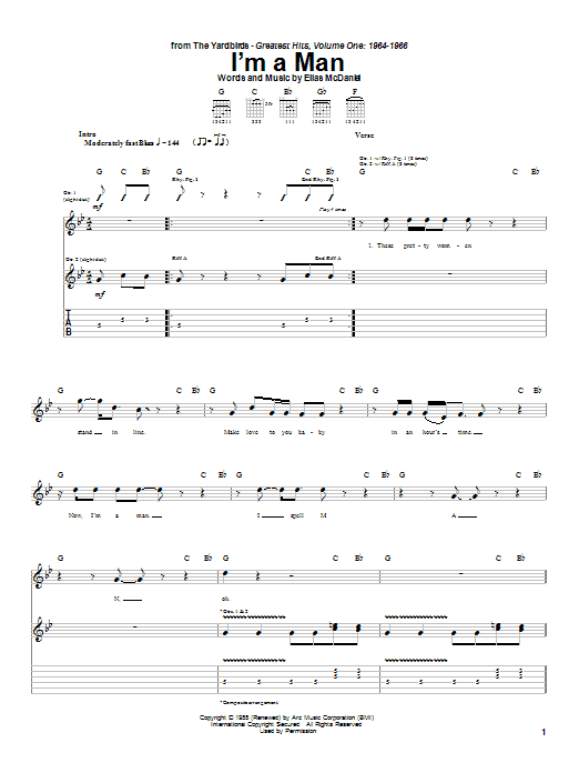 The Yardbirds I'm A Man sheet music notes and chords. Download Printable PDF.