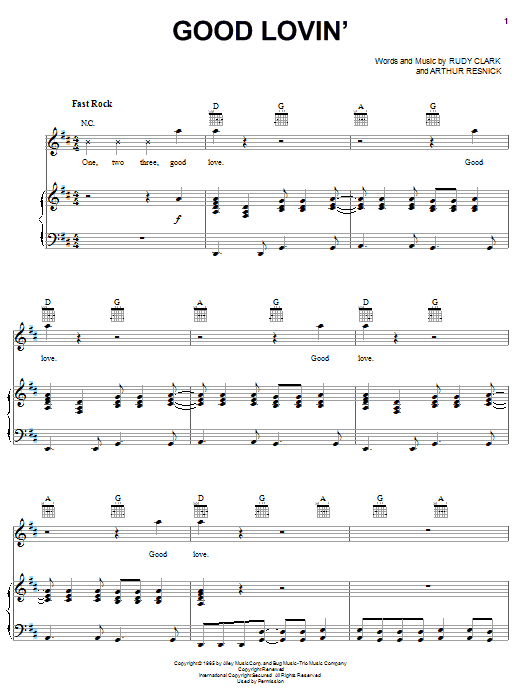 The Young Rascals Good Lovin' sheet music notes and chords