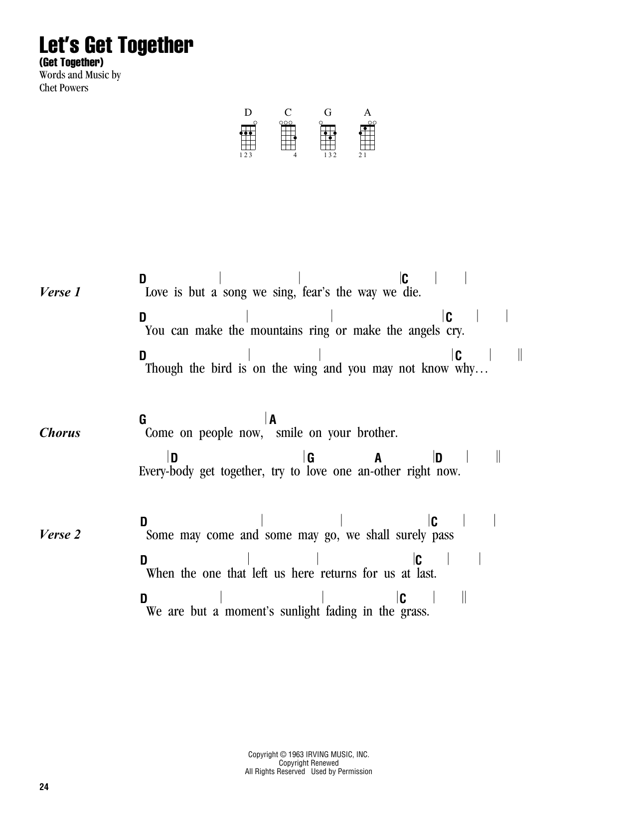 The Youngbloods Let's Get Together (Get Together) sheet music notes and chords. Download Printable PDF.