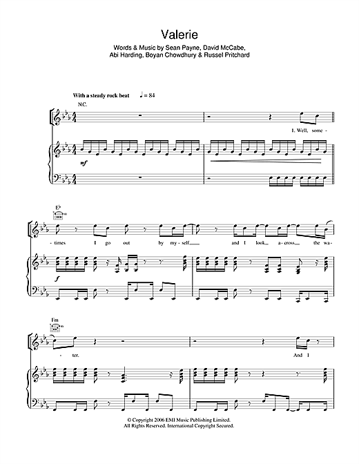 The Zutons Valerie sheet music notes and chords. Download Printable PDF.