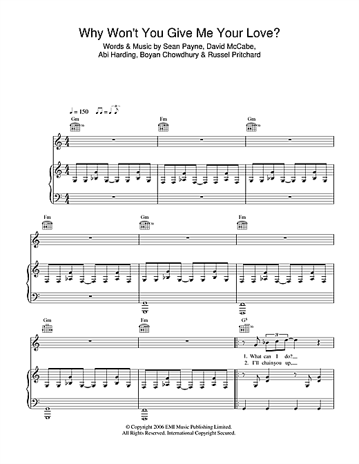 The Zutons Why Won't You Give Me Your Love? sheet music notes and chords