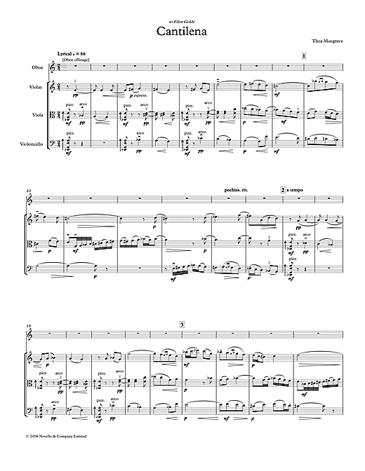 Thea Musgrave Cantilena for Oboe Quartet (full score) sheet music notes and chords