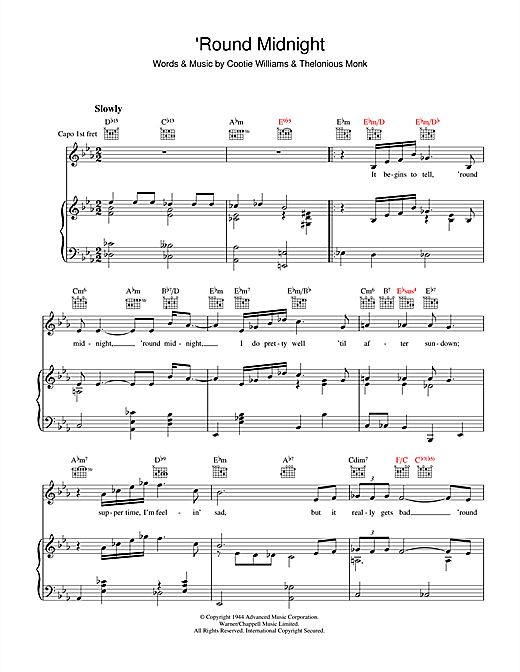 Thelonious Monk 'Round Midnight sheet music notes and chords. Download Printable PDF.